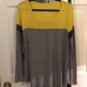Yellow and navy striped longsleeve shirt